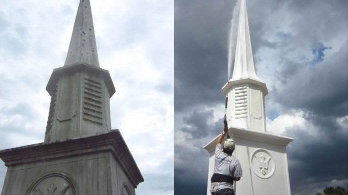 Church Steeple Cleaning: Before and After