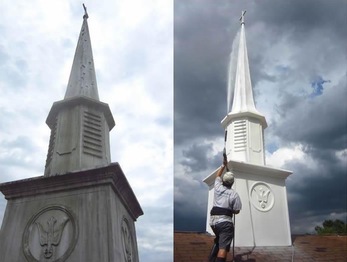 Steeple cleaning church steeple cleaning steeple washing church steeple cleaning before and after altavistaventures Images