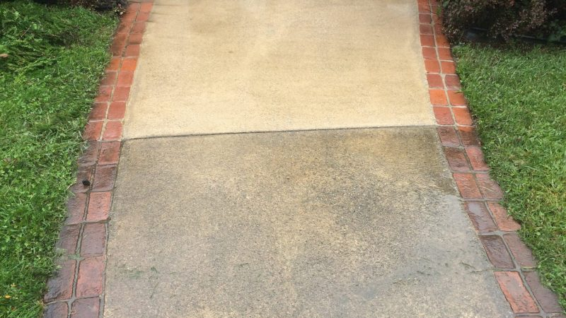 Concrete Sidewalk Cleaning: During