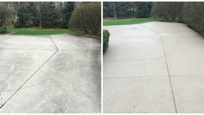 Concrete Driveway Washing: Before and After