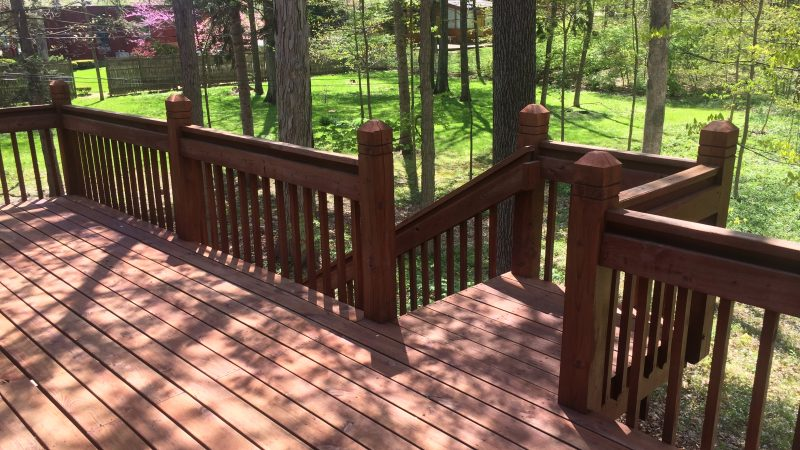 Deck Staining: During