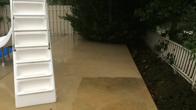 Pool Deck Concrete Cleaning: During