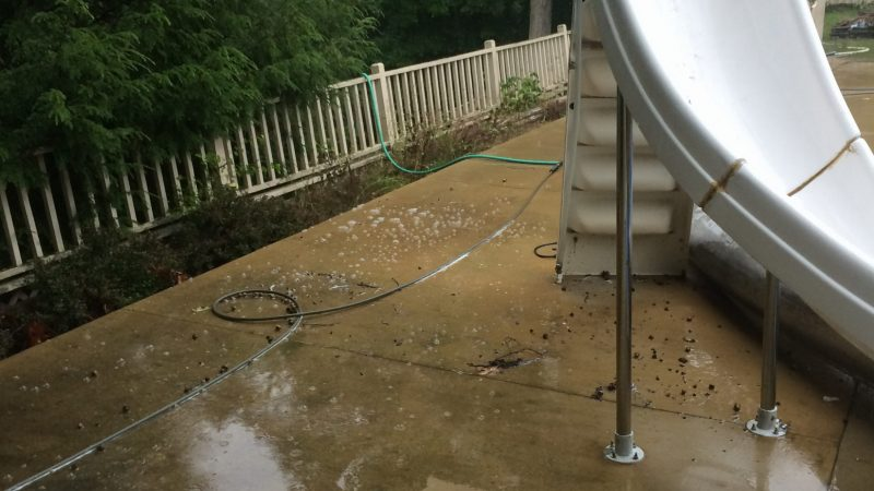 Pool Patio Concrete Washing: During